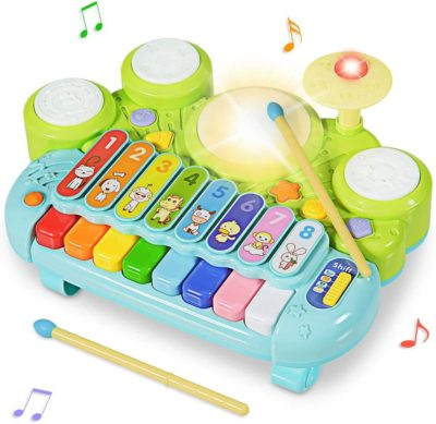 This is an image of Costzon 3 in 1 Musical Toys, Electronic Piano Keyboard Xylophone Game Drum Set,Kids' Drum Instrument Toys with Lights, 8 Xylophone Keys, 5 Piano Sound Modes for Toddlers Baby Boys Girls