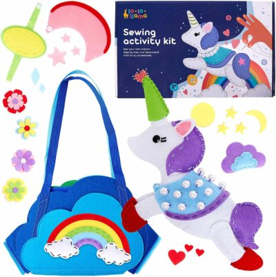 This is an image of Sewing Kit for Kids - Learn to Sew Your Own Unicorn Toy with Accessories - Arts & Crafts Gift for Girls Ages 7 8 9 10 11 12 - Fun Beginner Craft Kits