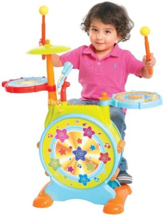 This is an image of Best Choice Products Kids Electronic Toy Drum Set w/ Adjustable Sing-Along, Microphone, Stool, Drumsticks