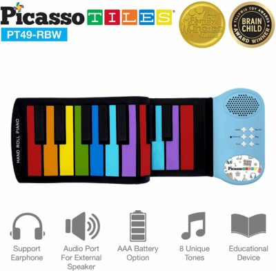 This is an image of PicassoTiles PT49 Kid's 49-Key Flexible Roll-Up Educational Electronic Digital Music Piano Keyboard w/ Recording Feature, 8 Different Tones, 6 Educational Demo Songs & Build-in Speaker