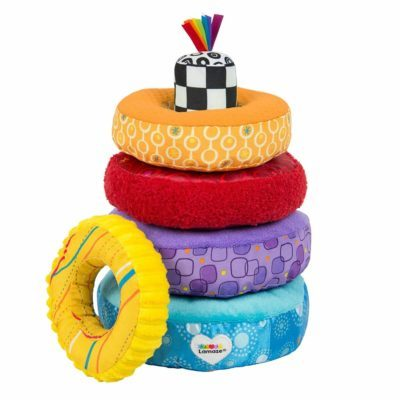 This is an image of LAMAZE - Rainbow Stacking Rings Toy, Help Baby Develop Fine Motor Skills and Hand-Eye Coordination with Multiple Textures, Bold Colors, Playful Patterns and Crinkly Sounds, 6 Months and Olde