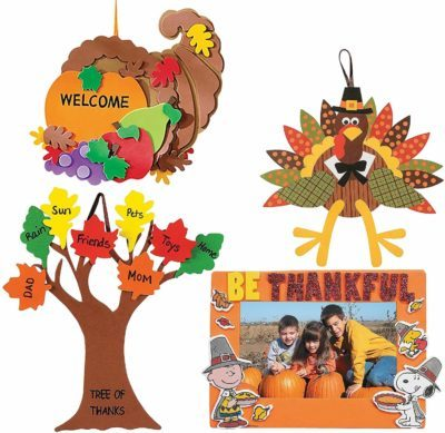 This is an image of Craft Kits Thanksgiving & Autumn | Peanuts Be Thankful Picture Frame Magnet Kit, Foam Cornucopia Door Sign Kit