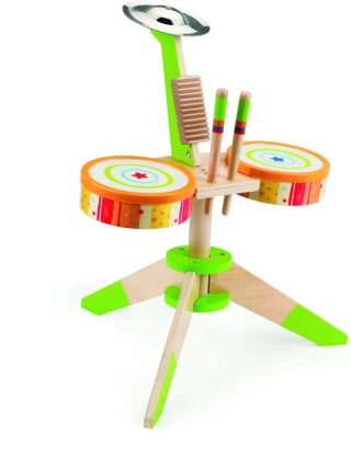 This is an image of Award Winning Hape Rock and Rhythm Kid's Musical Instruments Wooden Drum Set