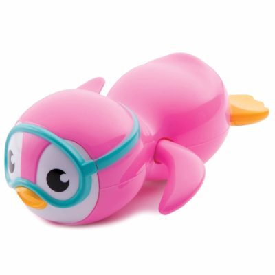 This is an image of Munchkin Wind Up Swimming Penguin Bath Toy, Pink