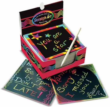 This is an image of Melissa & Doug Scratch Art Box of Rainbow Mini Notes