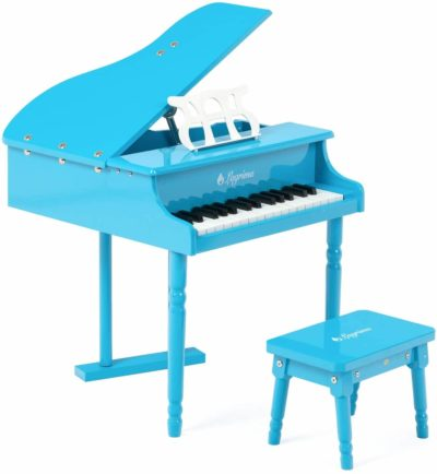 This is an image of LAGRIMA Classical Kids Piano, 30 Keys Wood Mini Baby Grand Piano w/ Bench