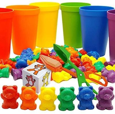 This is an image of Skoolzy Rainbow Counting Bears with Matching Sorting Cups, Bear Counters and Dice Math Toddler Games 71pc Set