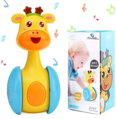This is an image of Tinabless Giraffe Tumbler Doll Roly-Poly Baby Toys, Cute Rattles Toys for Newborns 3-12 Month Baby Boys and Girls Xmas Birthday Gifts Stocking Fillers