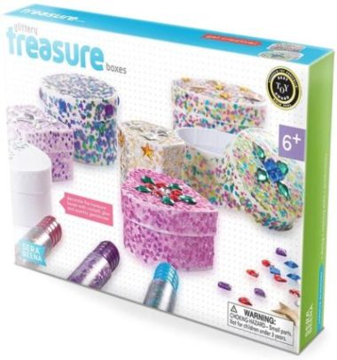 This is an image of Serabeena Decorate Your Own Glittery Treasure Boxes - Creative Kit for Girls