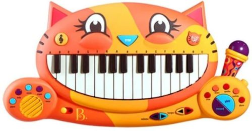 This is an image of B. toys – Meowsic Toy Piano – Children'S Keyboard Cat Piano with Toy Microphone