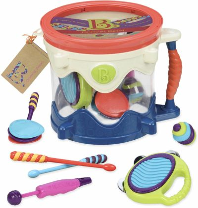 This is an image of B. toys – Drumroll Please – 7 Musical Instruments Toy Drum Kit for Kids 18 months + (7-Pcs)