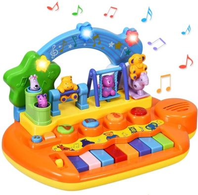 This is an image of Costzon 8 Keys Kids Educational Piano Keyboard Toy, Animal Family Musical Instrument Toys with LED Light, Music Modes, Best Early Education Christmas Birthday Gifts for Babies Toddlers Preschoolers
