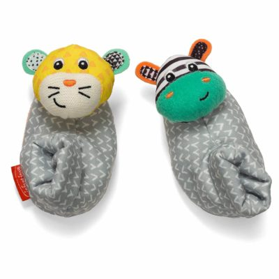 This is an image of Infantino Foot Rattles, Zebra and Tiger, Zebra/Tiger