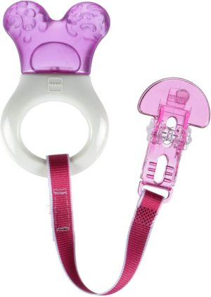 This is an image of MAM Baby Toys, Teething Toys, Mini Cooler Teether with Clip, Girl, 2+ Months, 1-Count