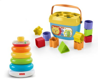 This is an image of a colorful stacking toy and 10 blocks with storage bucket.