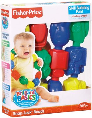 This is an image of a 12 piece colorful snap lock beads toy for 6 months old baby.