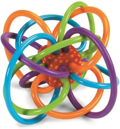 This is an image of a colorful Winkel Teether Toy for babies.
