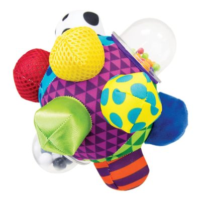 This is an image of a colorful easy to grasp bumpy ball toy for 6 months baby.
