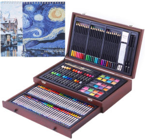 this is an image of a 145 piece art set