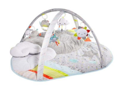 This is an image of a silver lining play mat with hanging plush toys.