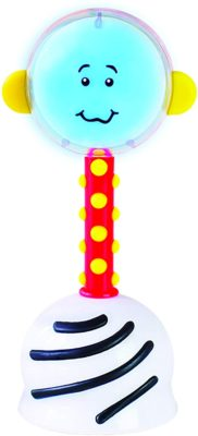 This is an image of a light uo rattle with blue light.