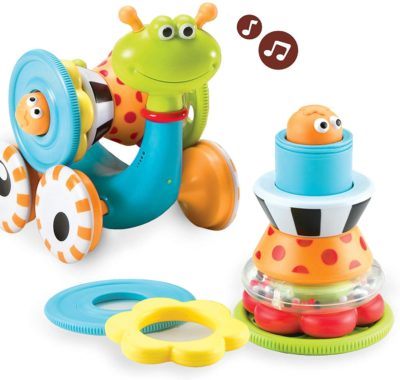 This is an image of a musical snail and ring stacker toy for babies.