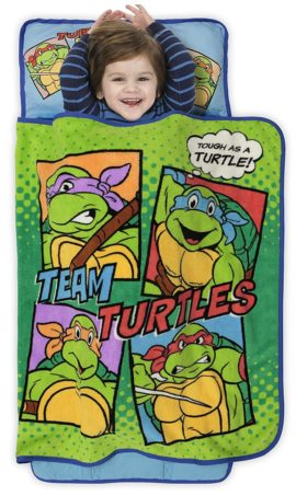 This is an image of Teenage Mutant Ninja Turtles Toddler Nap Mat - Includes Pillow and Fleece Blanket – Great for Boys and Girls Napping at Daycare, Preschool, Or Kindergarten - Fits Sleeping Toddlers and Young Children