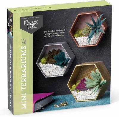 Image of Craft Crush – Mini Terrariums Craft Kit – Make 3 Geometric Terrariums with Colorful Felt Succulents