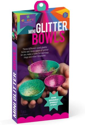 Image of Craft-tastic – Mini Glitter Bowl Kit – Craft Kit Makes 3 Different-Sized Tiny Glitter Bowls