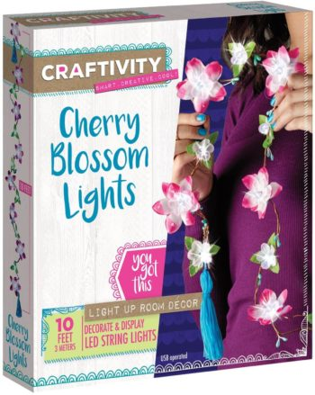 Image of CRAFTIVITY Cherry Blossom Lights Craft Kit - Makes 1 LED Flower String Light