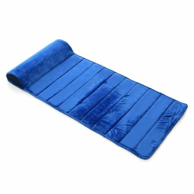 This is an image of My First Nap Mat Premium Memory Foam Nap Mat with Built-In Removable Pillow, Blue