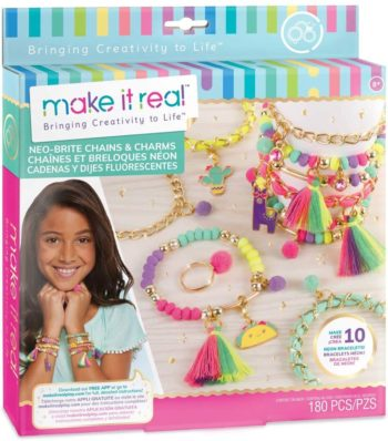 Image of Neo-Brite Chains and Charms. DIY Gold Chain Charm Bracelet Making Kit for Girls. Arts and Crafts Kit to Create Unique Tween Bracelets with Neon Beads, Unique Pom Charms