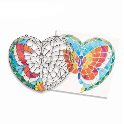 This is an image of butterfly window art project kit for 8 year old kids.