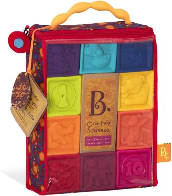 This is an image of a colorful squeezable building block for toddlers..