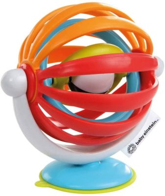 This is an image of a colorful spinner suction toy for babies.