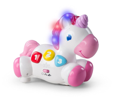This is an image of a musical and glowing unicorn toy for 5 months old babies.