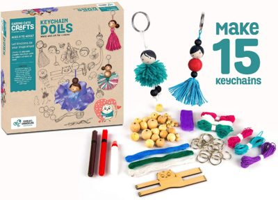 This is an image of a 15 piece do it yourself doll keychain for teens.