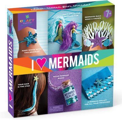 This is an image of a mermaid themed craft kit for little girls.