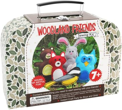 This is an image of a a colorful woodland animal sewing kit.