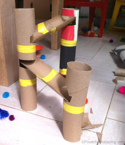 this is an image of a DIY paper marble run