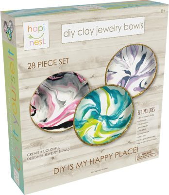 This is an image of a DIY clay Jewelry craft kit for 8 year old girls.