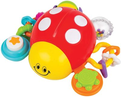 This is an image of a colorful ladybug activity toy for infants.