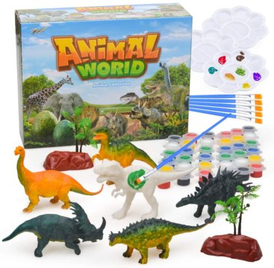 This is an image of a DIY dinosaur painting kit for kids.