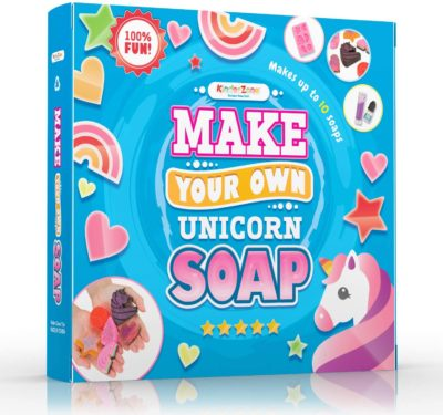 This is an image of a DIY unicorn soap craft kit for 8 year old girls.