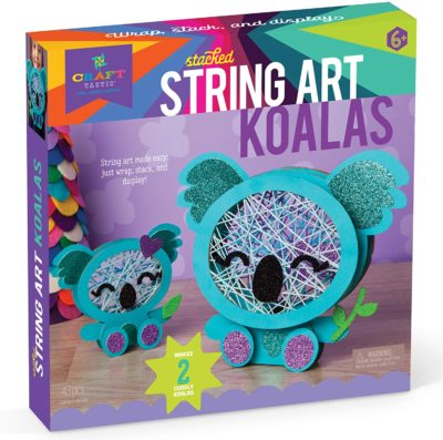 This is an image of a koala string art for 7 years old kids.