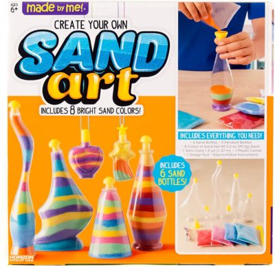 This is an image of a multicolored sand art kit for 7 year old kid