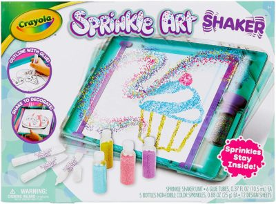 This is an image of a an art shaker kit by Crayola for 8 year old girls.