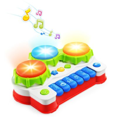 This is an image of a colorful musical drum and piano toy.