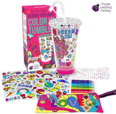 This is an image of a create your own tumbler craft kit for kids.