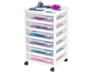 this is an image of 6 clear drawers for crafts
